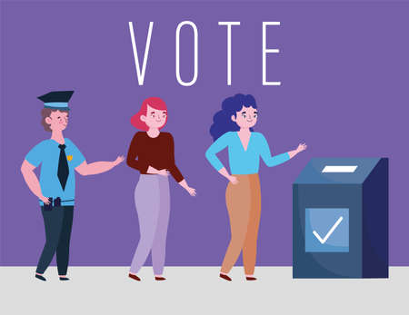 voting and election concept, young women voting and choosing candidates vector illustration