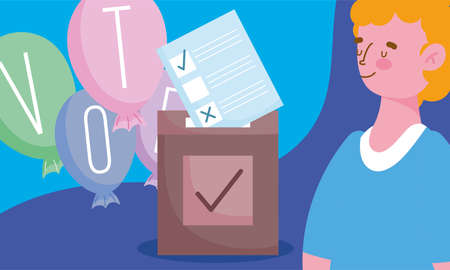 voting and election concept, man with word vote on balloons ballot and box vector illustration