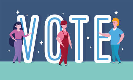 voting and election concept, people and vote word cartoon vector illustration Ilustrace