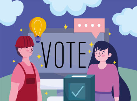 voting and election concept, people online vote computer and box vector illustration
