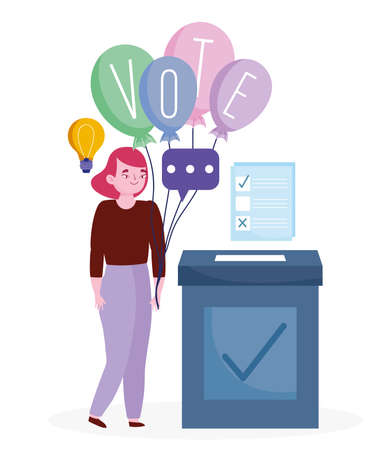 voting and election concept, woman with word vote on balloons and ballot with box vector illustration