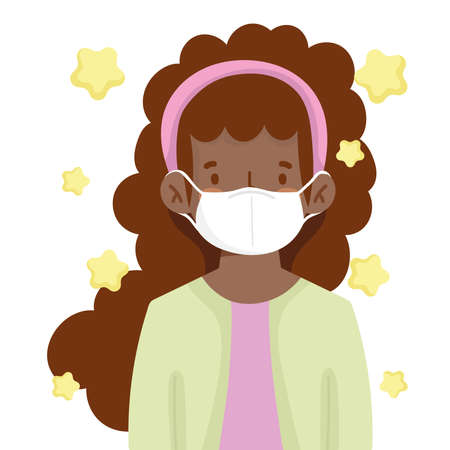 afro american girl with medical mask new normal vector illustration