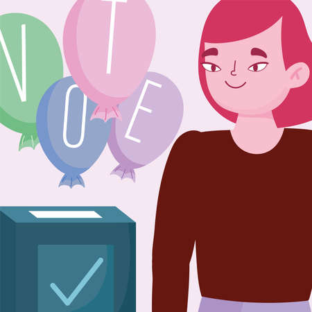voting and election concept, woman with word vote on balloons vector illustration