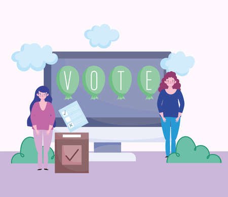 voting and election concept, women online vote screen box and ballot vector illustration