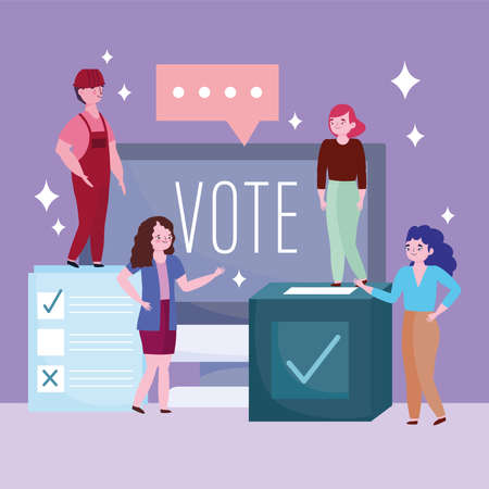 voting and election concept, people vote online poll choice event vector illustration