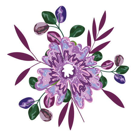 flower branch petals leaves foliage isolated design vector illustration
