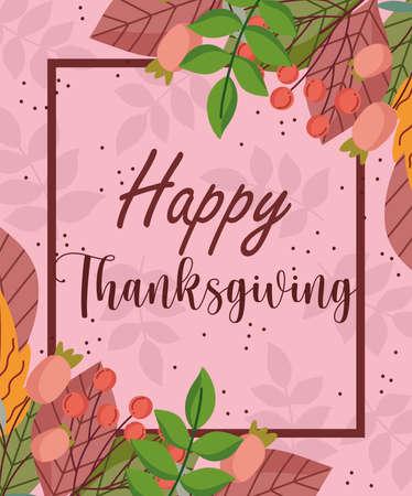 happy thanksgiving greeting card leaves season berries flowers vector illustration