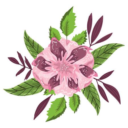 flower leaves foliage decoration isolated design vector illustration Ilustracja