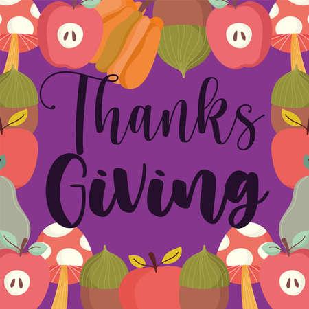 happy thanksgiving background mushroom apples pumpkin acorn decoration vector illustration