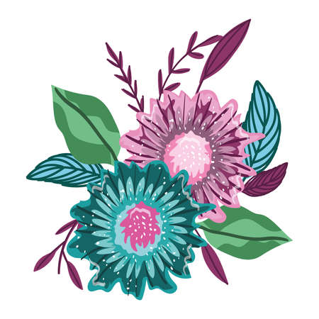flowers nature leaves foliage isolated design vector illustration Ilustracja