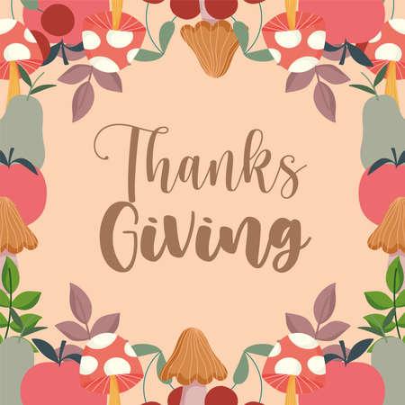 happy thanksgiving greeting card mushroom apples leaves decoration vector illustration Ilustracja