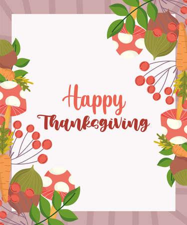 happy thanksgiving greeting card mushroom foliage season leaves vector illustration Ilustracja