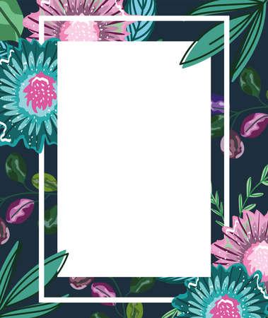 flowers exotic leaves foliage nature decoration banner vector illustration Ilustracja