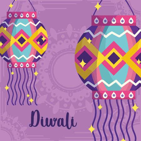 happy diwali festival, mandala background with lanterns decoration card vector illustration detailed Ilustracja