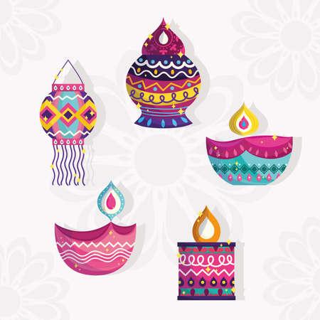 happy diwali festival, set icons of lanterns and diya lamps vector illustration detailed