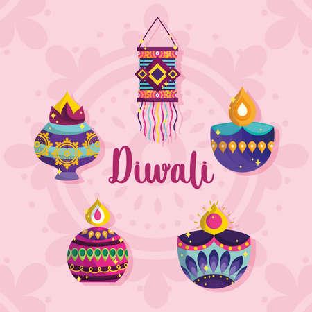 happy diwali festival, diya lamps lanterns ornament decoration card vector illustration detailed Ilustracja