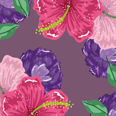 hibiscus flowers and leaves nature decoration background vector illustration