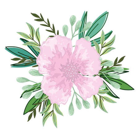 delicate flower leaves foliage isolated design vector illustration