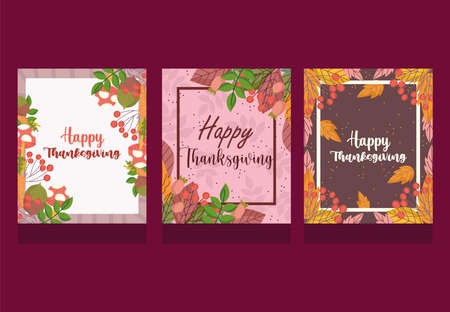 happy thanksgiving, collection cards lettering autumnal foliage season celebration vector illustration