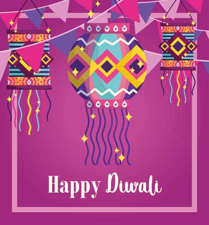 happy diwali festival, background lanterns pennants celebration card vector illustration detailed Ilustracja