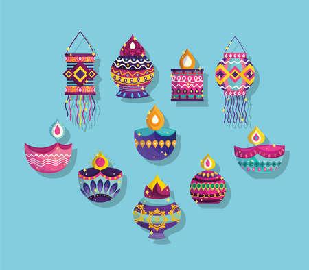 happy diwali festival, collection icons diya lamps lanterns ornaments decoration vector illustration detailed Ilustracja