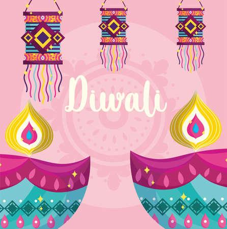 happy diwali festival, diya lamps and hanging lanterns decoration vector illustration detailed Ilustracja