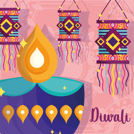 happy diwali festival, diya lamp and hanging lanterns decoration poster vector illustration detailed