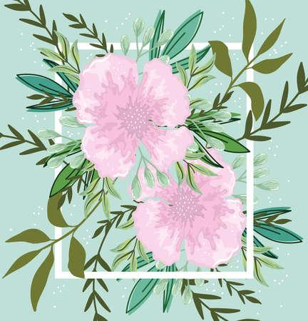 delicate flowers leaves foliage nature banner design vector illustration Ilustracja