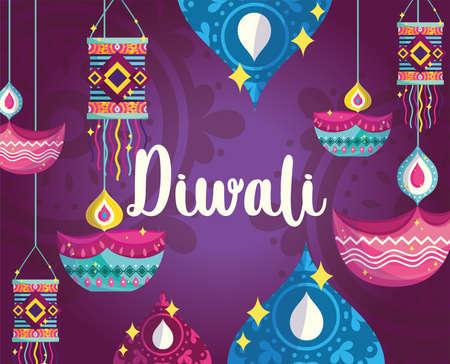 happy diwali festival, purple background with diya lamps light lanterns decoration vector illustration detailed