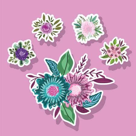 flowers nature leaves foliage decoration stickers style icons vector illustration Ilustracja