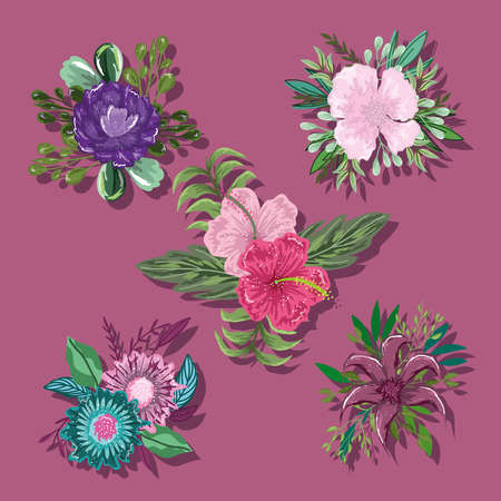 collection icons flowers leaves foliage nature decoration vector illustration Ilustracja