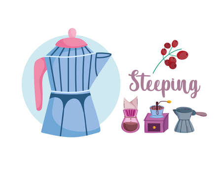 coffee brewing methods, moka pot drip grinder and cezve turkish vector illustration Ilustracja