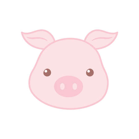 cute pig face cartoon animal vector illustration color design