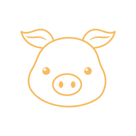 cute pig face cartoon animal vector illustration line design Illustration