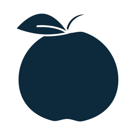 apple fruit fresh nature silhouette icon vector illustration