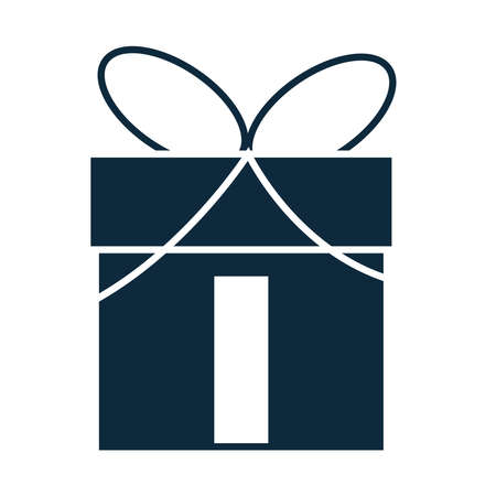 wrapped gift box with bow silhouette icon vector illustration