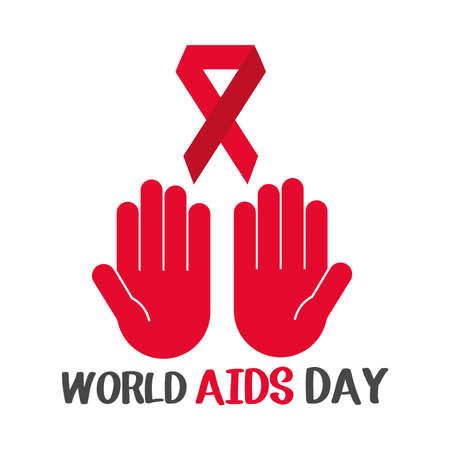 world aids day, red hands with awareness ribbon card vector illustration