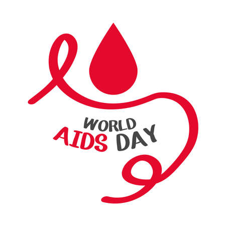 world aids day, curly red ribbon and blood drop card vector illustration