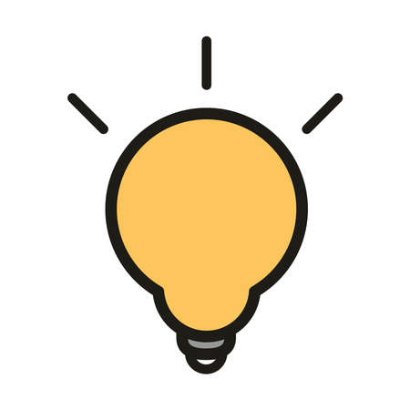 light bulb electricity energy linear and fill style vector illustration