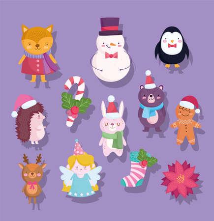 merry christmas, cute snowman bear penguin deer bunny fox flower sock cartoon icons vector illustration Ilustración de vector