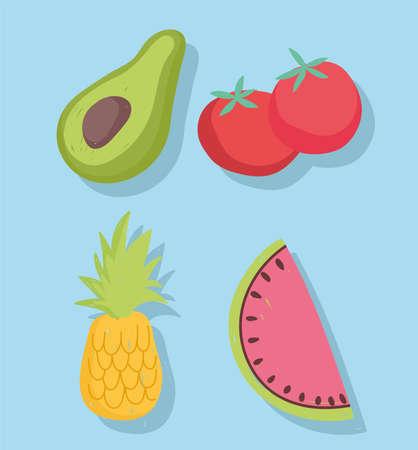 food set icons tomato avocado pineapple and watermelon vector illustration Vecteurs