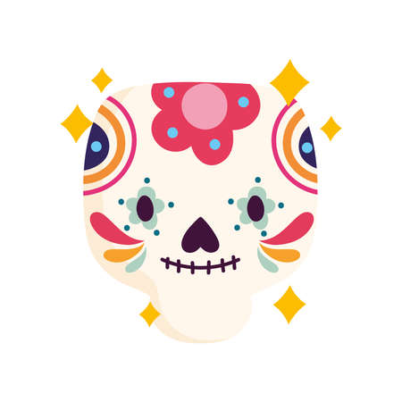 mexican traditional skull with flowers, mexico culture vector illustration Иллюстрация