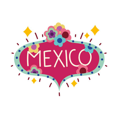 mexico lettering board with flowers culture vector illustration