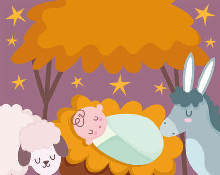nativity, manger cute baby jesus in crib with donkey and lamb cartoon vector illustration
