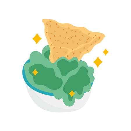 mexican food guacamole and nachos, mexico culture vector illustration