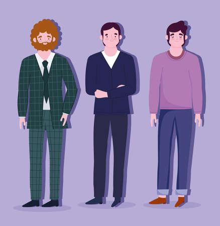 business men employees standing cartoon character vector illustration