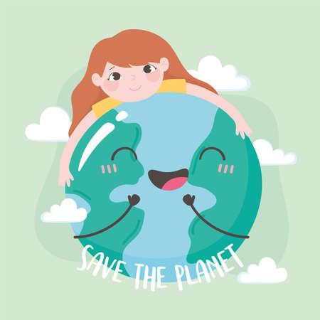 save the planet, little girl hugging earth map vector illustration