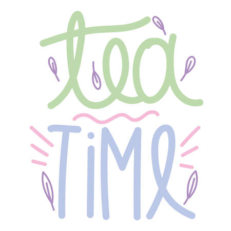 cooking lettering, hand drawn type font tea time leaves design vector illustration