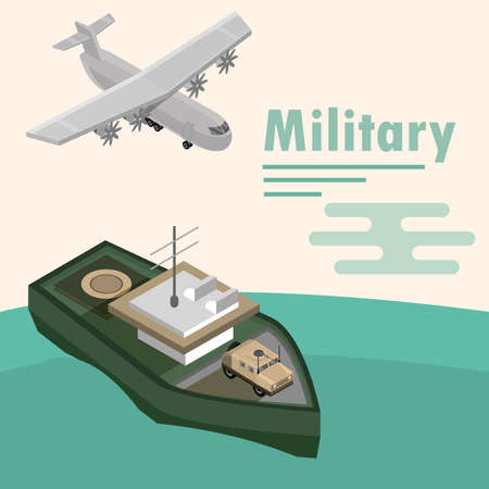 military warship with vehicle and plane design vector illustration