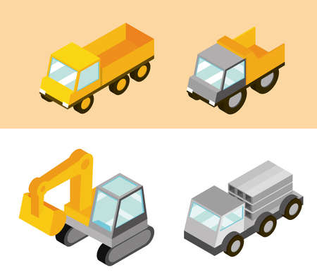 construction trucks machine transport and work isometric vector illustration